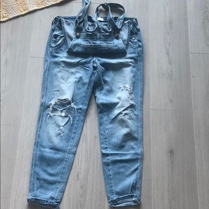 Abercrombie distressed denim overalls
